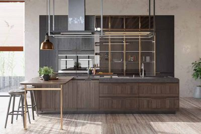 Solid Wood Rustic Kitchen Cabinet with an Island