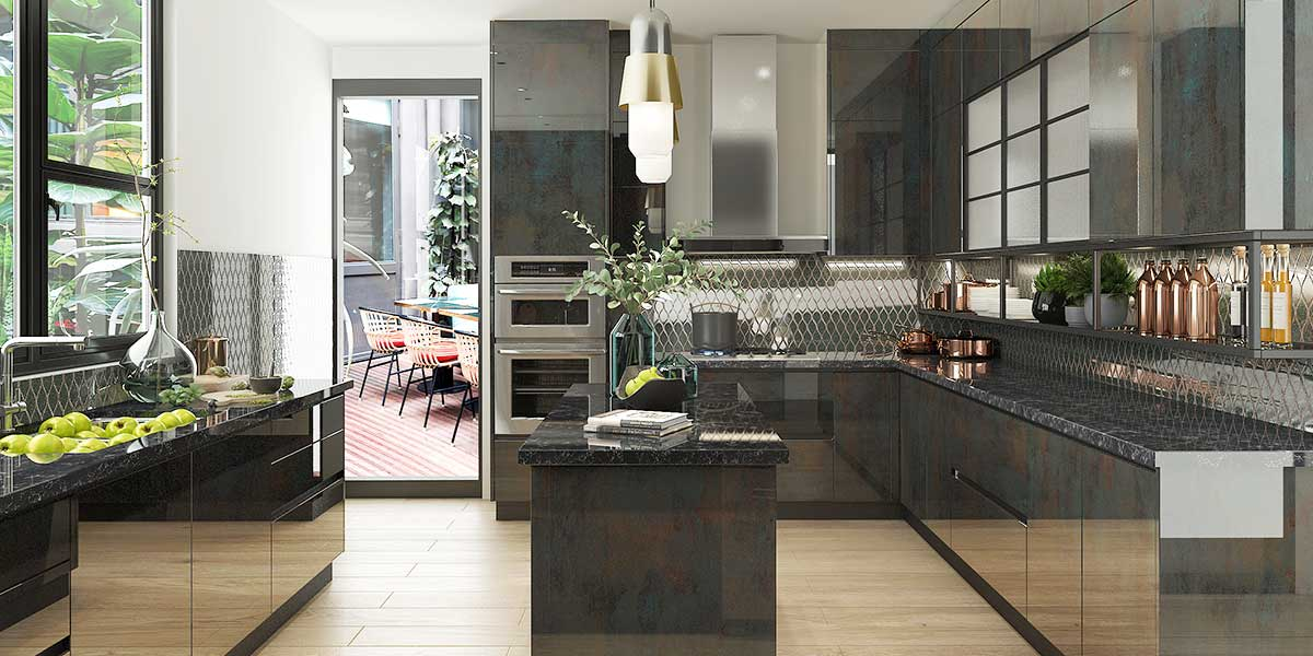 High-end Modern Kitchen Cabinet in UV Lacquer Finish