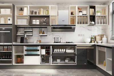 Handle less Modern Grey Melamine Kitchens With Simple Designs